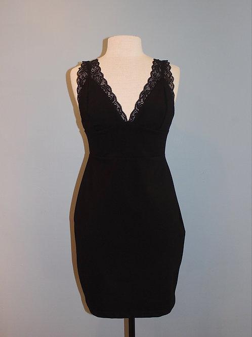 lace detail black party dress