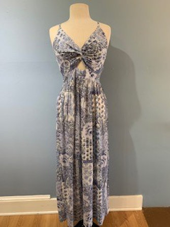 Blue And Cream Print Maxi With Knot Front