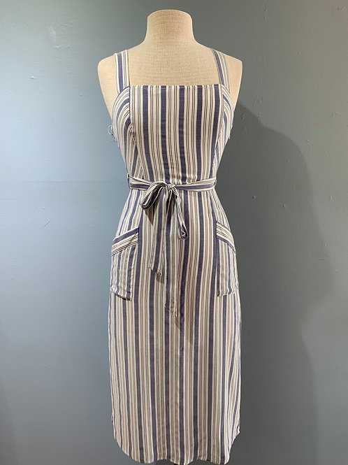 Blue & White Stripe Midi Dress