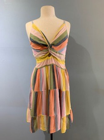 Multi-Colored Dress With Front Knot