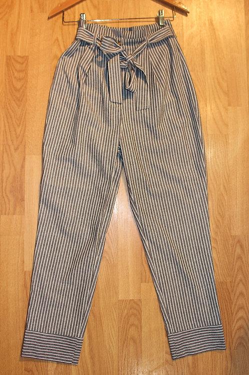 grey/white stripe w/ tie pants