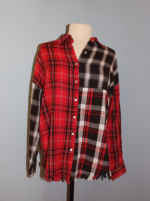 mixed plaid flannel