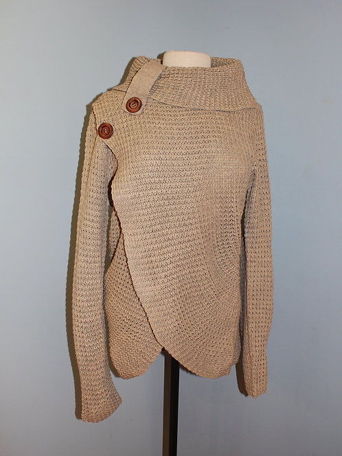 taupe waffle button sweater