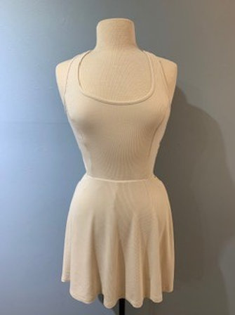 Cream Knit Ribbed Romper With Back Detail