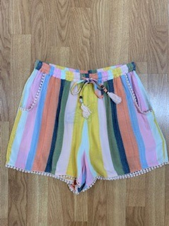 Multi-Color Striped Tie Shorts With Bottom Detail