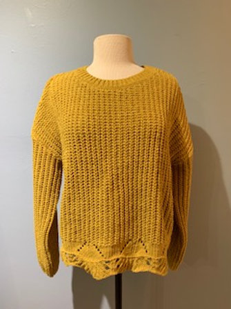 Mustard Scalloped Edge Sweater