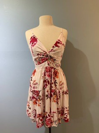 Rose Floral Dress With Front Knot