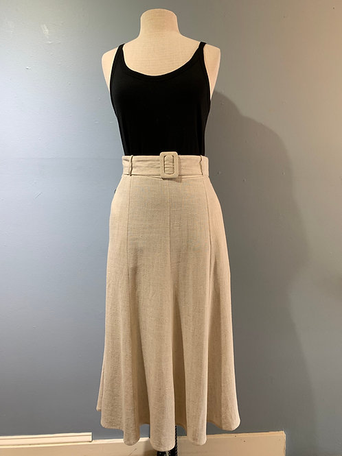Oatmeal Linen Skirt with Pockets