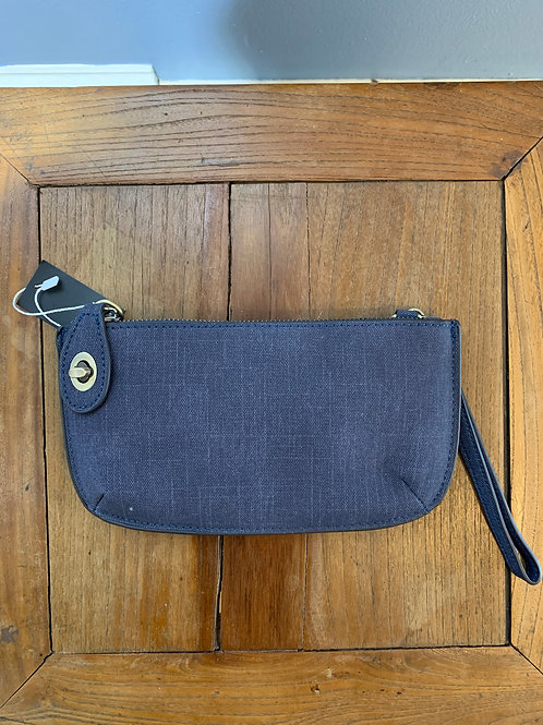 Denim Linen Crossbody Wristlet