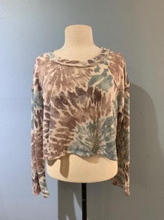 Rust Tie Dye Cropped Sweater