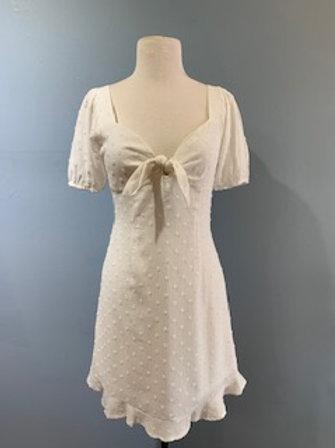 Tie Front Textured White Dress