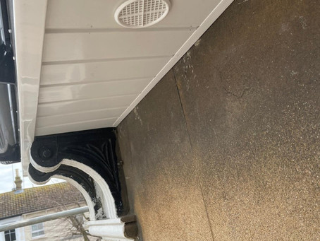 New facia , hollow board soffit and plastic guttering