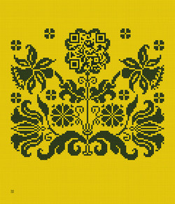 1x_Kreuzstich_Blütenornament+QR_Taipeh_240x280cm_gelb