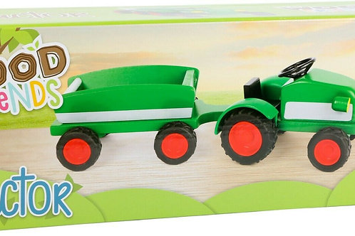 Woodfriends Wooden Tractor with Trailer Green