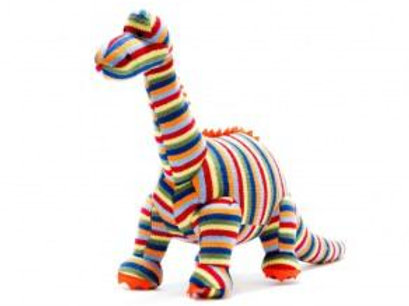 KNITTED DINOSAUR SOFT TOY, COLOURFUL STRIPE DIPLODOCUS