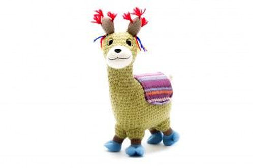KNITTED LLAMA SOFT TOY WITH PURPLE BLANKET