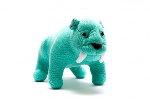 BLUE KNITTED SABRE TOOTH TIGER SOFT TOY