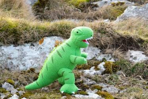 DINOSAUR SOFT TOY, KNITTED GREEN T REX TOY