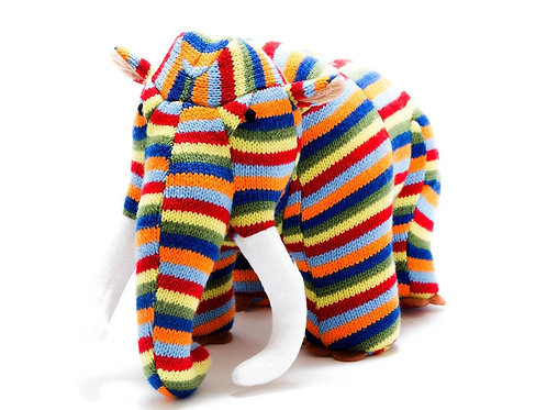 COLOURFUL STRIPE KNITTED WOOLLY MAMMOTH DINOSAUR SOFT TOY