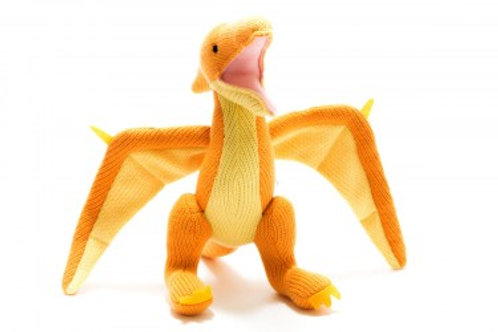 YELLOW PTERODACTYL KNITTED DINOSAUR TOY