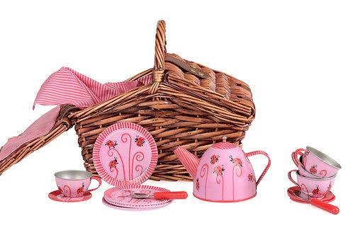 TIN TEA SET LADYBUG IN A BASKET