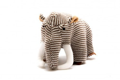 KNITTED DINOSAUR SOFT TOY, BROWN STRIPE WOOLLY MAMMOTH