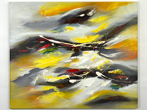 'Stormy Yellows' by Wilkinson - Original Oil Painting Framed