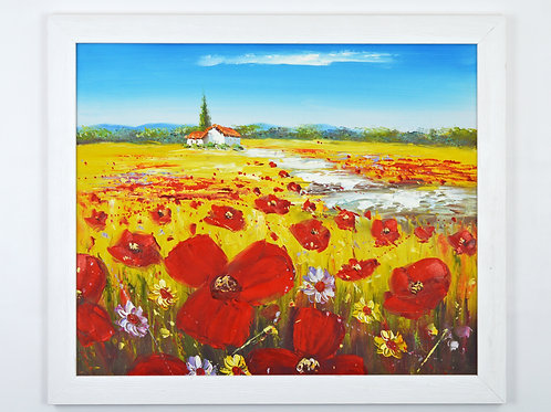 'Poppies of Provence' - Original Oil Painting Framed