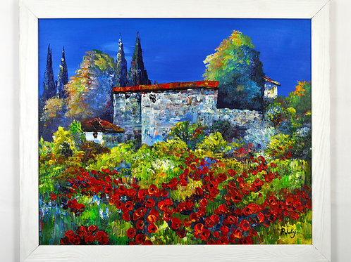'Tuscan Villa with Poppies' by P.Joly - Original Oil Painting Framed