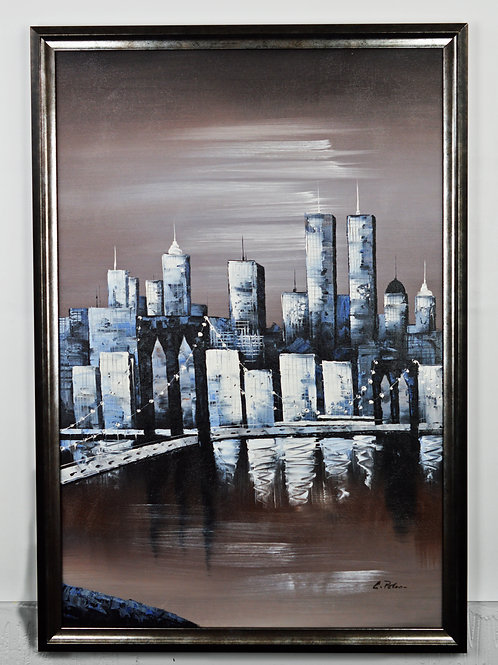 'Twin Towers, New York - 1996' by L.Jones - Original Oil Painting Framed