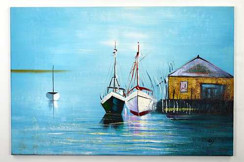 'Tranquil Harbor' by L.Gay - Original Oil Painting Framed