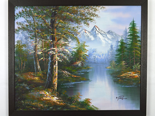 'Reflections of the Rockies' by O.Ferry - Original Oil Painting Framed