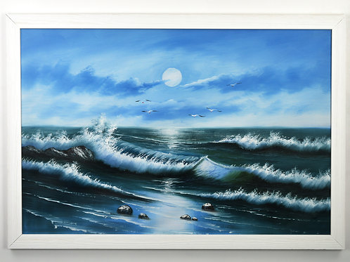 'Waves in Blue' - Original Oil Painting Framed