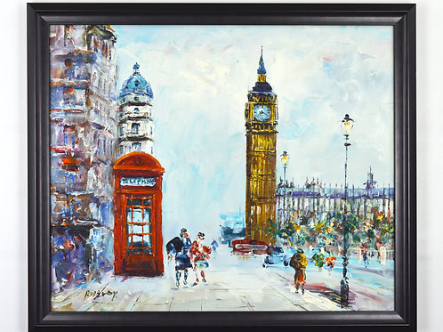 'Westminster, 1900s' by R.Savoy  - Original Oil Painting Framed