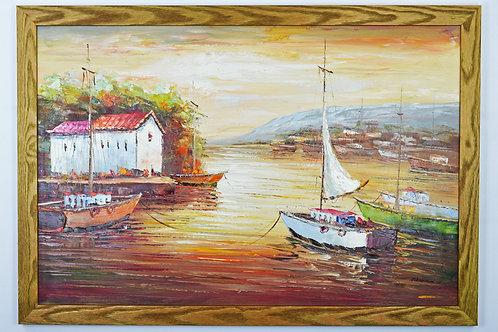 'Amalfi Coast Dock' by Adams - Original Oil Painting Framed