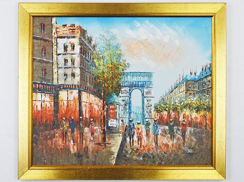 'Arc De Triomphe 1890' by Burnett - Original Oil Painting Framed