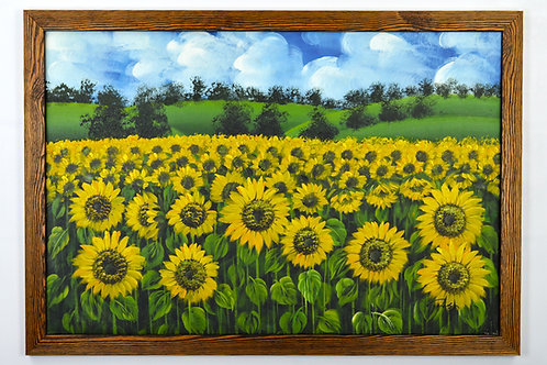 'Sunflowers in Bloom' by F.Lisa - Original Oil Painting Framed