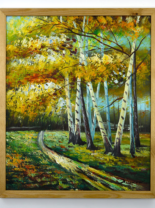 'Autumn Woodland' by A.Wood - Original Oil Painting Framed
