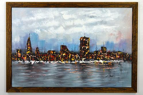 'New York - Impasto' by L.Perkins - Original Oil Painting Framed