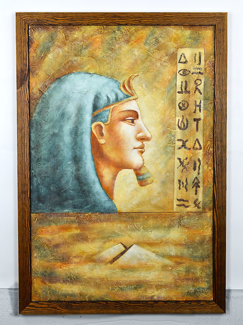 'Egyptian Pharaoh' by D.Wallark- Original Oil Painting Framed