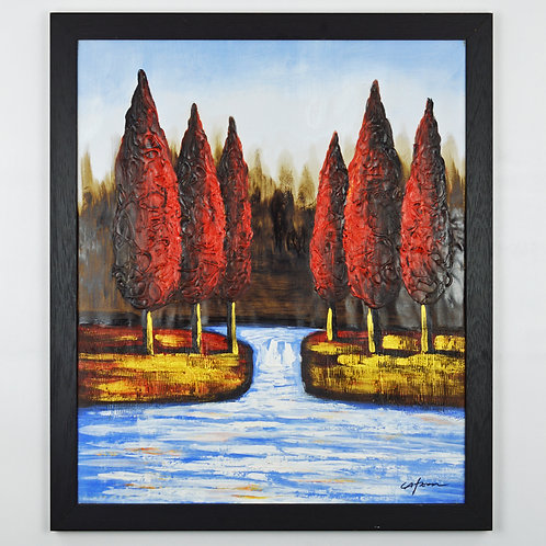 'Red Trees by Flowing Stream' by C.Afton - Original Oil Painting Framed