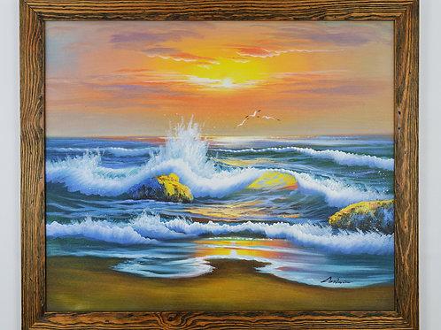 'Seawaves at Sunset' - Original Oil Painting Framed