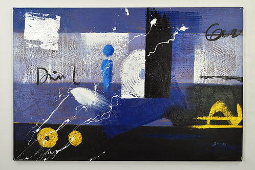 'Impasto Blues' by Javier - Original Oil Painting Framed