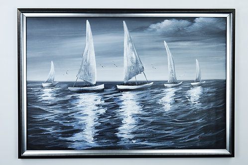 'Sailing Boats' by D.Julius - Original Oil Painting Framed