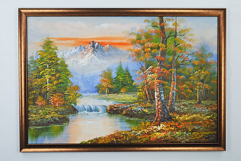 'Canadian Rockies at Sunset' by R.Morgan - Original Oil Painting Framed