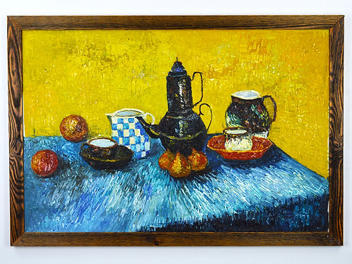 'Still Life with Blue Enamel Coffeepot'- Original Oil Painting Framed