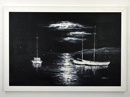 'Moonlight Harbour' by Adams - Original Oil Painting Framed