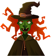 Illustrated witch with wild orange hair and pointy hat