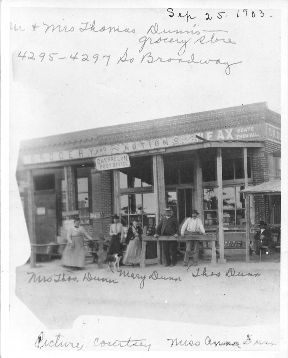 The Dunn family's grocery store in 1903. Today the site is the parking lot of Gold Sound at the northwest corner of Quincy and Broadway.