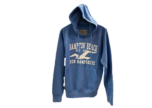 Beach Blue Hooded Sweatshirt with Seagull Design
